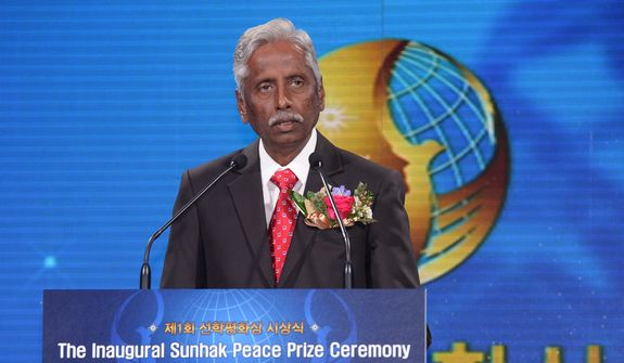 Dr. Modadugu Vijay Gupta, an Indian fisheries scientist, speaks on Aug. Aug. 28 in Seoul, South Korea, after winning the first-ever Sunhak Peace Prize. Source: Segye Times