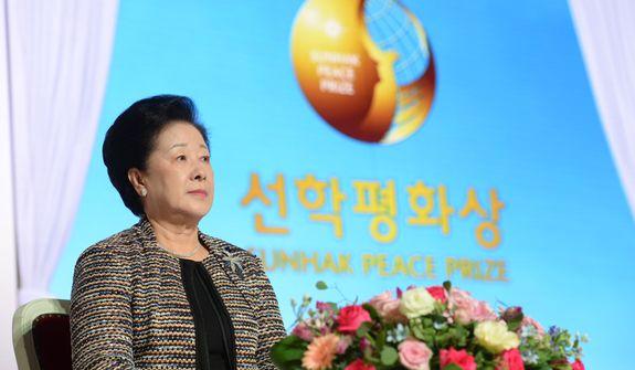 Dr. Hak Ja Han Moon observes the festivities on Friday (Aug. 28) surrounding the awarding of the new Sunhak Peace Prize in Seoul, South Korea. Source: Segye Times.