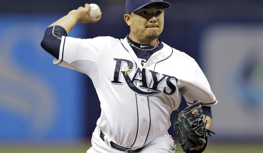Tampa Bay Rays starting pitcher Erasmo Ramirez delivers to the Kansas City Royals during the first inning of a baseball game Friday, Aug. 28, 2015, in St. Petersburg, Fla.  (AP Photo/Chris O'Meara)