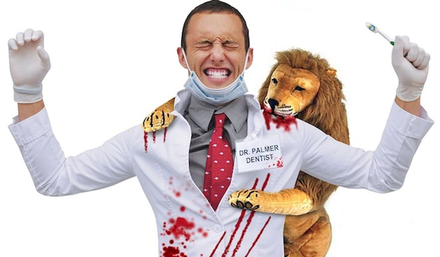 """PETA has responded to outrage over Cecil the Lion Halloween costumes with its own """"Cecil's Revenge"""" costume that features a bloodied dentist. (www.petacatalog.com)"""