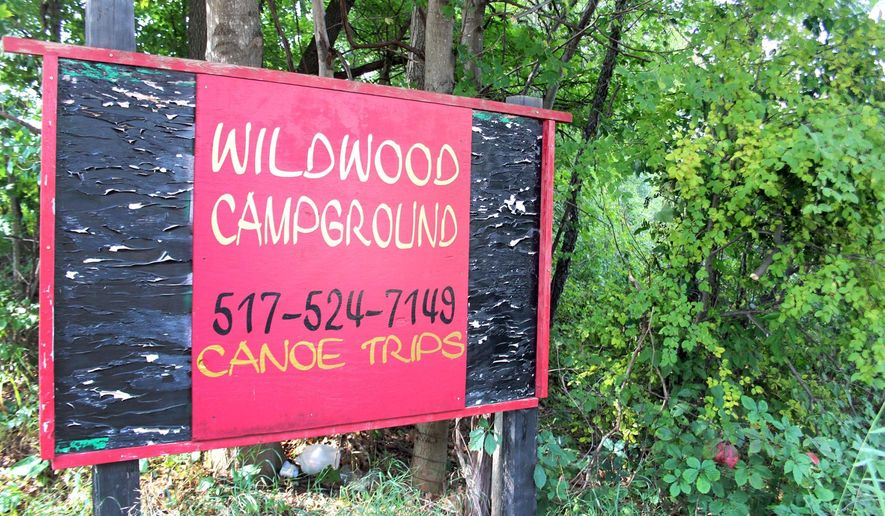 In a photo from Aug. 18, 2015 a sign is shown for a new music festival coming to Jonesville, Mich.,  The campground owners feel that the property's open spaces and rustic feel make it an ideal venue for an open-air music revue.   (Jason Dafnis/Hillsdale Daily News via AP)