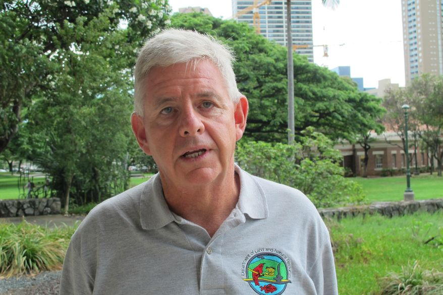 """Dan Dennison, a former news director at WDBJ-TV in Roanoke, Va., speaks in Honolulu, Thursday, Aug. 27, 2015. Dennison said Thursday the former employee, Vester Flanagan, who shot two ex-colleagues on live television had a long history of being a """"professional victim."""" (AP Photo/Audrey McAvoy)"""