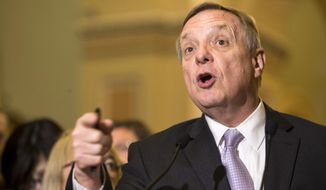 Senate Minority Whip Richard Durbin, Illinois Democrat, speaks during a new conference on Capitol Hill in Washington on May 5, 2015. (Associated Press) **FILE**