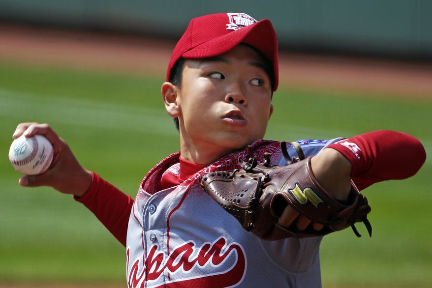 Japan's Kabu Kikuchi delivers during the first inning of the International championship baseball game against Mexico at the Little League World Series tournament in South Williamsport, Pa., Saturday, Aug. 29, 2015. (AP Photo/Gene J. Puskar)