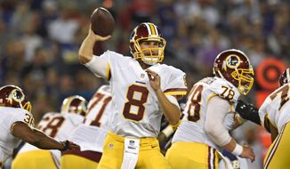 Washington Redskins quarterback Kirk Cousins (8) throws to a receiver in the first half of a preseason NFL football game against the Baltimore Ravens, Saturday, Aug. 29, 2015, in Baltimore. (AP Photo/Gail Burton)