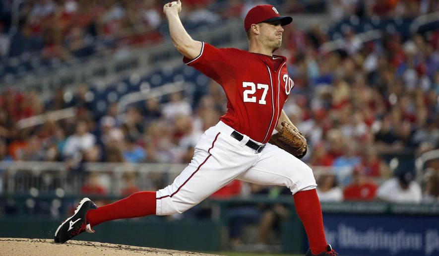 Washington Nationals starting pitcher Jordan Zimmermann throws during the third inning of a baseball game against the Miami Marlins at Nationals Park, Saturday, Aug. 29, 2015, in Washington.  (AP Photo/Alex Brandon)