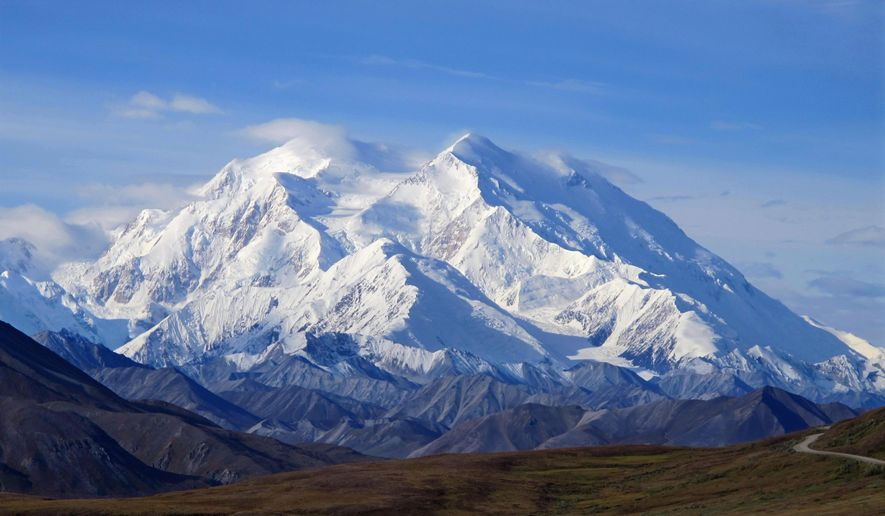 FILE - This Aug. 19, 2011 file photo shows Mount McKinley in Denali National Park, Alaska. President Barack Obama on Sunday, Aug. 30, 2015 said he's changing the name of the tallest mountain in North America from Mount McKinley to Denali. (AP Photo/Becky Bohrer, File)