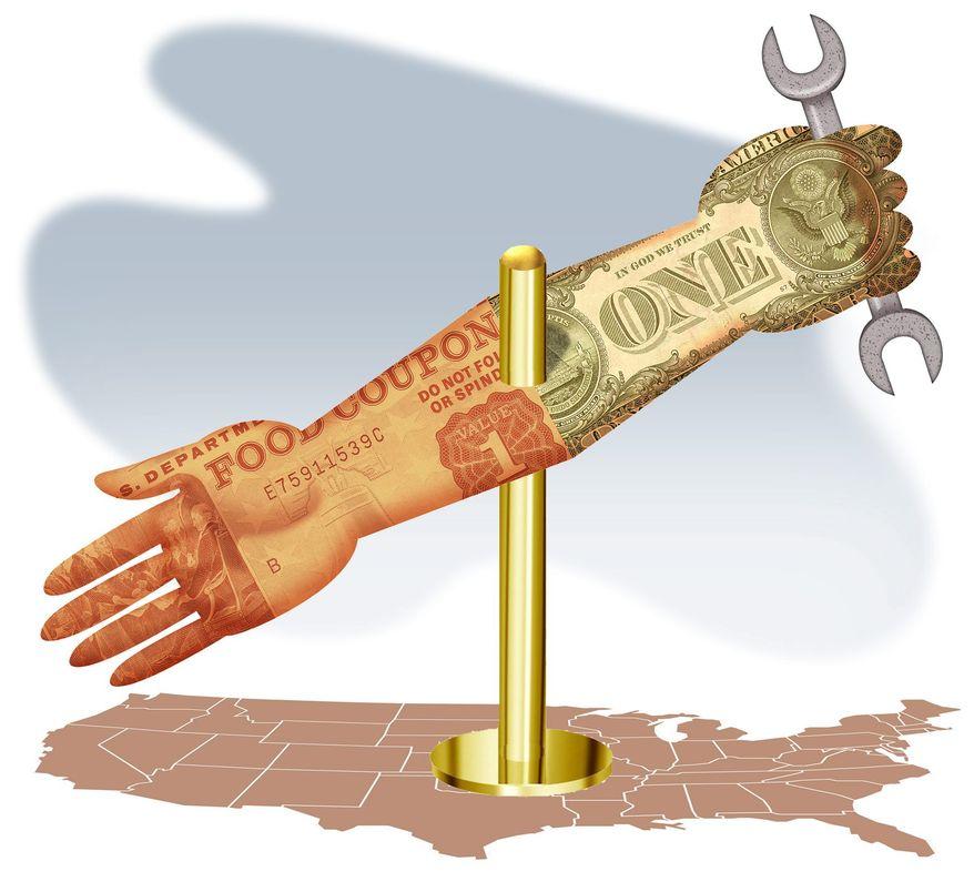Illustration on welfare to work by Alexander Hunter/The Washington Times