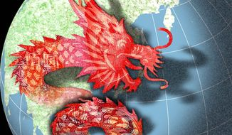 Illustration on China's menacing moves in the Pacific by Alexander Hunter/The Washington Times