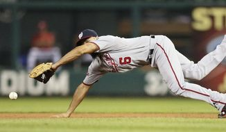 Washington Nationals second baseman Anthony Rendon dives but is unable to reach an RBI-single by St. Louis Cardinals' Kolten Wong during the fourth inning of a baseball game, Monday, Aug. 31, 2015, in St. Louis. (Chris Lee/St. Louis Post-Dispatch via AP)  EDWARDSVILLE INTELLIGENCER OUT; THE ALTON TELEGRAPH OUT; MANDATORY CREDIT