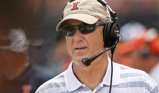 FILE - In this Aug. 30, 2014, file photo, Illinois offensive coordinator Bill Cubit watches from the sideline during an NCAA college football game against Youngstown State in Champaign, Ill. Cubit has been named interim coach as Illinois abruptly fired head coach Tim Beckman one week before the start of the season Friday, Aug. 28, 2015, after an investigation of player mistreatment allegations revealed he had meddled in medical issues and inappropriately treated athletes who remained on scholarship after leaving the team. (AP  Photo/Bradley Leeb, File)