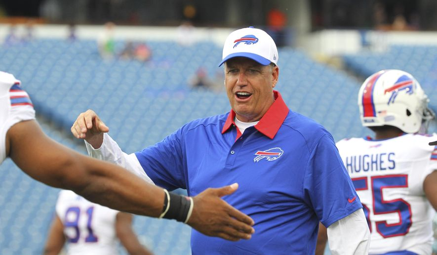 FILE - In this Aug. 14, 2015, file photo, Buffalo Bills coach Rex Ryan talks to players before an NFL preseason football game against the Carolina Panthers in Orchard Park, N.Y. Ryan has re-energized a franchise that has the longest playoff drought at 15 years, and helped the Bills sell a franchise-record 60,000-plus season tickets. (AP Photo/Bill Wippert)