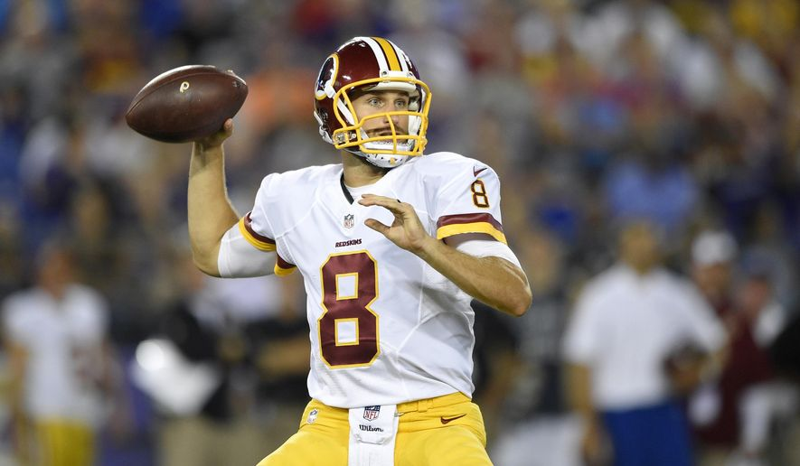 In this photo taken Aug. 29, 2015, Washington Redskins quarterback Kirk Cousins throws to a receiver in the first half of a preseason NFL football game against the Baltimore Ravens, in Baltimore. Cousins will start the season as Washington's quarterback, Redskins coach Jay Gruden said Monday. With Robert Griffin III still in the NFL's concussion protocol program, Gruden opted for Cousins, who was drafted along with Griffin in 2012 and has started nine games when Griffin has been hurt, going 2-7. (AP Photo/Nick Wass)