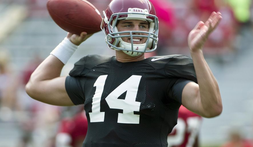 FILE - In this Aug. 9, 2015, file photo, Alabama quarterback Jake Coker sets back to throw the ball during an NCAA college football practice in Tuscaloosa, Ala. Alabama coach Nick Saban hasn't even given so much as a hint about who's his starting quarterback but it appears to be a three-man race. (AP Photo/Brynn Anderson, File)