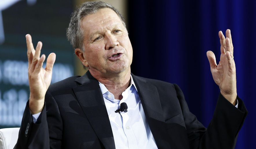 FILE - In this Wednesday, Aug. 19, 2015, file photo, Republican presidential candidate Gov. John Kasich, R-Ohio, speaks during an education summit in Londonderry, N.H. Kasich said Monday, Aug. 31, 2015, that he disagrees with President Barack Obama's decision to rename Mount McKinley as Denali, the traditional Alaska Native name. (AP Photo/Jim Cole, File)