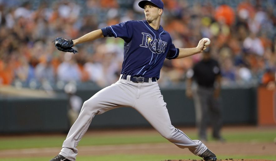 Tampa Bay Rays starting pitcher Drew Smyly throws to the Baltimore Orioles in the first inning of a baseball game, Tuesday, Sept. 1, 2015, in Baltimore. (AP Photo/Patrick Semansky)