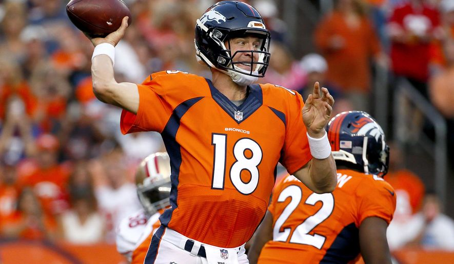 Denver Broncos quarterback Peyton Manning throws a pass against the San Francisco 49ers during the first half of an NFL preseason football game, Saturday, Aug. 29, 2015, in Denver. (AP Photo/Jack Dempsey)