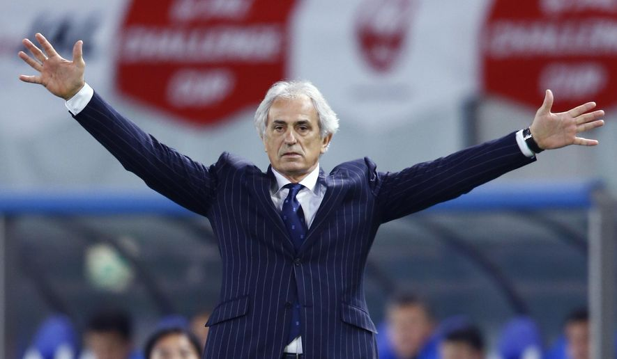 In this March 31, 2015 photo, Japan's coach Vahid Halilhodzic of Bosnia and Herzegovina reacts during an international friendly soccer match between Japan and Uzbekistan in Tokyo. Despite a disappointing start to his tenure as Japan coach, Vahid Halilhodzic has been told by the Japan FA that his job is not under threat ahead of the upcoming 2018 World Cup qualifiers. (AP Photo/Shizuo Kambayashi)