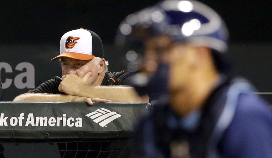 Baltimore Orioles manager Buck Showalter watches from the dugout in the eighth inning of a baseball game against the Tampa Bay Rays, Tuesday, Sept. 1, 2015, in Baltimore.  Tampa Bay won 11-2. (AP Photo/Patrick Semansky)