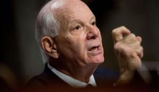 FILE - In this July 23, 2015 file photo, Sen. Ben Cardin, D-Md., ranking member on the Senate Foreign Relations Committee, speaks on Capitol Hill in Washington. Cardin is predicting there will be enough votes in the Senate by week's end to uphold President Barack Obama's veto of a resolution disapproving the Iran nuclear deal.  (AP Photo/Andrew Harnik, File)