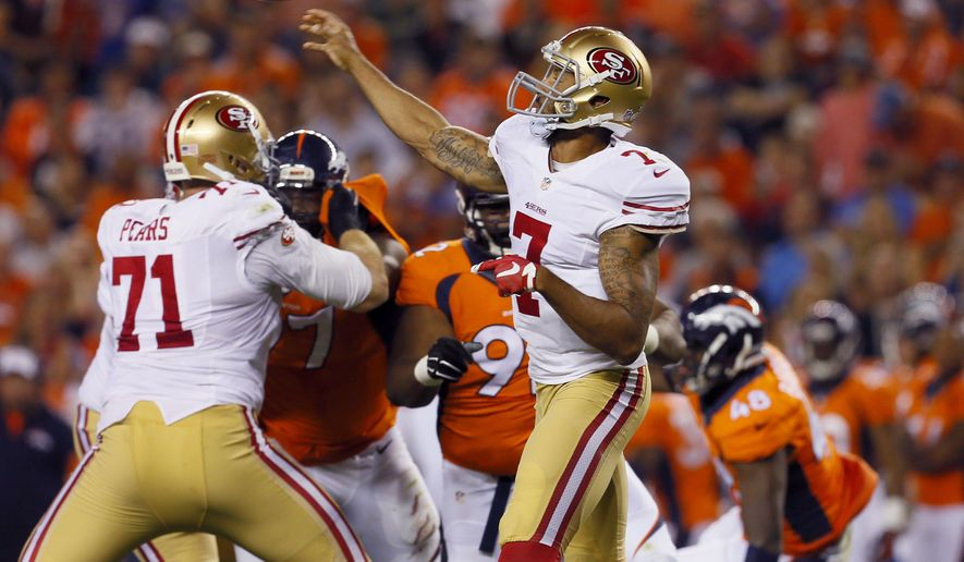 San Francisco 49ers quarterback Colin Kaepernick (7) throws against the Denver Broncos during the first half of an NFL preseason football game, Saturday, Aug. 29, 2015, in Denver. (AP Photo/Joe Mahoney)