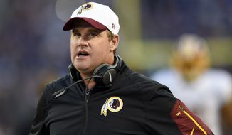 Washington Redskins head coach Jay Gruden stands on the sideline before a preseason NFL football game against the Baltimore Ravens, Saturday, Aug. 29, 2015, in Baltimore. (AP Photo/Gail Burton)