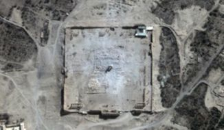 This Monday, Aug. 31, 2015, satellite image provided by UNITAR-UNOSAT shows damage to the main building of the ancient Temple of Bel in the Palmyra, Syria. The main building has been destroyed, a United Nations agency said. The image was taken a day after a massive explosion was set off near the 2,000-year-old temple in the city occupied by Islamic State militants. (UrtheCast, UNITAR-UNOSAT via AP)