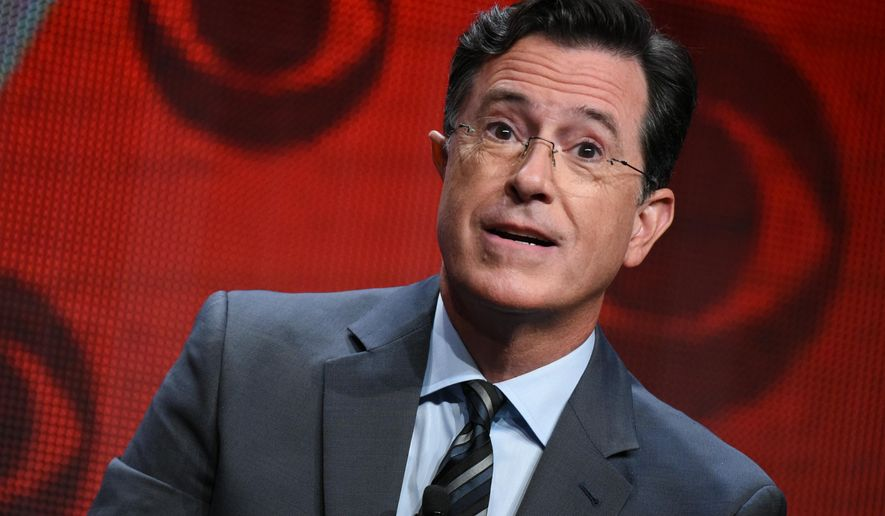 "In this Aug. 10, 2015, file photo, Stephen Colbert participates in ""The Late Show with Stephen Colbert"" segment of the CBS Summer TCA Tour in Beverly Hills, Calif. Vice President Joe Biden will be among Colbert's first guests on ""The Late Show."" CBS announced Tuesday, Sept. 1, 2015, that Biden will join previously announced guests Uber CEO Travis Kalanick and country singer Toby Keith on Sept. 10.  (Photo by Richard Shotwell/Invision/AP, File)"