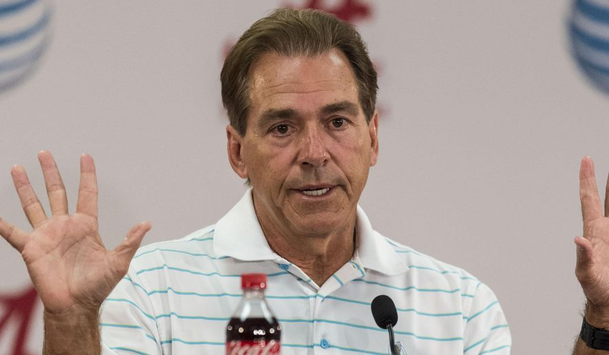 Alabama football coach Nick Saban talks with the media in his weekly, leadoff news conference, Monday, Aug. 31, 2015, at Naylor-Stone Media Suite in Tuscaloosa, Ala. (Vasha Hunt/AL.com via AP) MAGS OUT; MANDATORY CREDIT