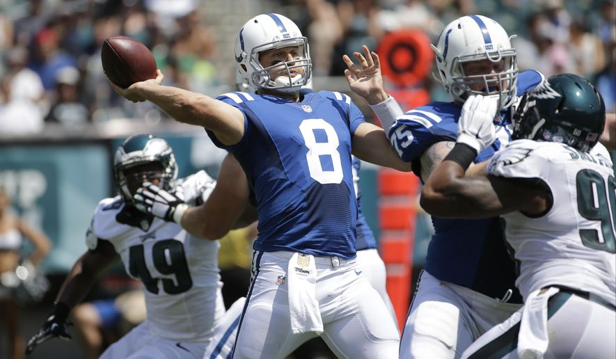 FILE - In this Aug. 16 2015, file photo, Indianapolis Colts quarterback Matt Hasselbeck passes during the first half of a preseason NFL football game against the Philadelphia Eagles in Philadelphia. The 39-year-old quarterback has a one-year contract and is backing up Andrew Luck, who has never missed a pro game. If all goes well in Indianapolis this season, this traditionally meaningless contest could turn out to be the last meaningful snaps of Hasselbeck's 17-year NFL career -- and he's lobbying to start. (AP Photo/Michael Perez, File)