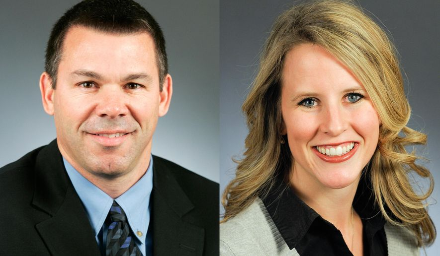 This combination of photos provided Sept. 2, 2015 by the Minnesota House of Representatives shows Rep. Tim Kelly, R-Red Wing, left, and Rep. Tara Mack, R-Apple Valley. The two Minnesota lawmakers, accused of making out in a car at a regional park, say a park ranger made up the story. They were cited Aug. 25 for causing a nuisance, a misdemeanor. (Courtesy Minnesota House of Representatives via AP)