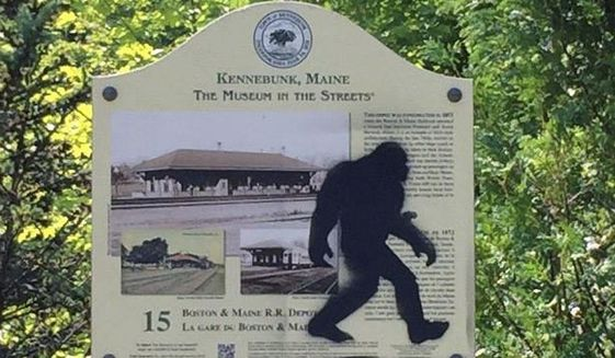 This Aug. 19, 2015 photo provided by the Kennebunk Police Department shows an graffiti on a sign in Kennebunk, Maine.  (Det. Stephen M. Borst, Kennebunk Police Department via AP) **FILE**