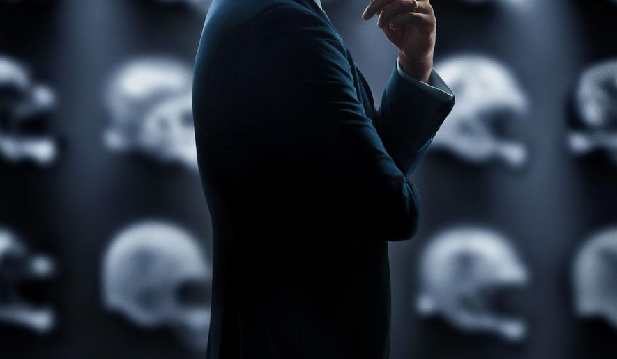 """This image released by Sony Pictures shows the poster art for the film, """"Concussion,"""" to be released in U.S. theaters on Christmas Day. Even though the holiday is nearly four months off, we already know what Roger Goodell will find under his tree on Christmas Day. It's a movie scheduled for release that morning based on a true story and bluntly titled """"Concussion."""" It could do for the NFL what """"The Insider"""" did for Big Tobacco and """"Erin Brockovich"""" did for big energy companies. (Sony Pictures via AP)"""