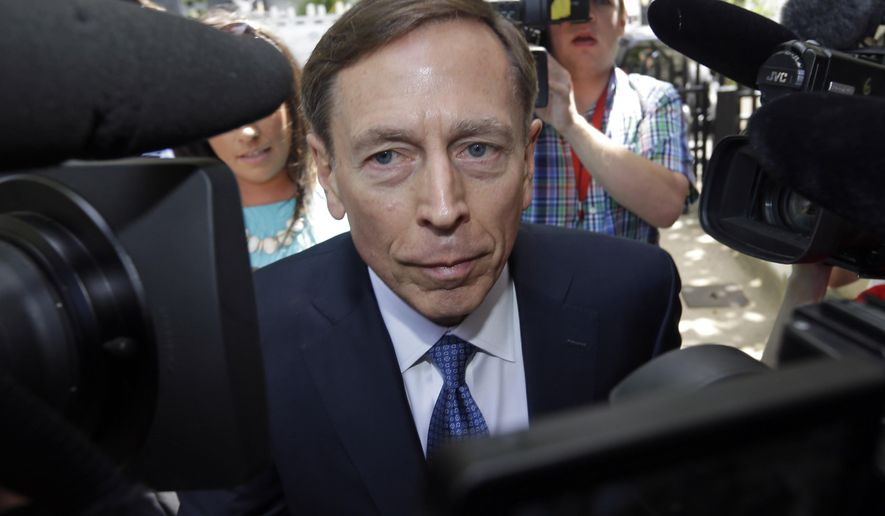 FILE - In this April 23, 2015 file photo, former CIA director David Petraeus arrives for sentencing at the federal courthouse in Charlotte, N.C.   The Associated Press has learned that lawyers for Scott and Jill Kelley's privacy lawsuit over leaks in the Obama administration investigation that led to the resignation of CIA Director David Petraeus, intend to subpoena at least two journalists to compel them to testify about their sources in the case.  (AP Photo/Bob Leverone)