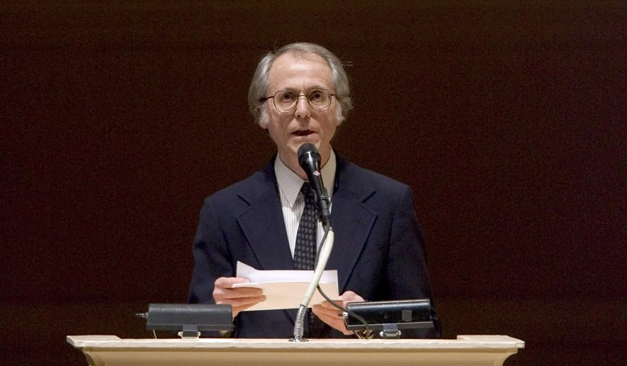 "FILE - In this April 9, 2008 file photo, author Don DeLillo speaks at ""The Time of His Life: A Celebration of the Life of Norman Mailer"" tribute at Carnegie Hall in New York. DeLillo is receiving an honorary National Book Award for lifetime achievement. The author of ""White Noise,"" ""Underworld"" and other celebrated novels will receive his medal on Nov. 18, 2015, at the annual awards ceremony, the National Book Foundation told The Associated Press on Wednesday, Sept. 2, 2015.   (AP Photo/Stephen Chernin, File)"