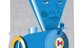Hillary's Train Losing Steam Illustration by Linas Garsys/The Washington Times