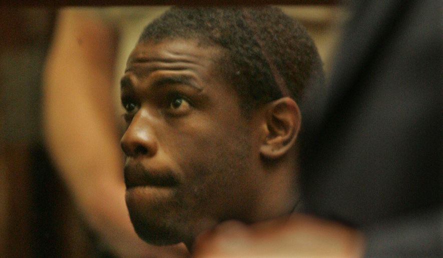 Former NFL running back Lawrence Phillips is arraigned in Superior Court in the Foltz Criminal Courts Building in Los Angeles on June 2, 2005. Phillips is serving a sentence of more than 31 years for choking his girlfriend and later of driving his car into three teens after a pickup football game. (Anne Cusack/Los Angeles Times via Associated Press) **FILE**