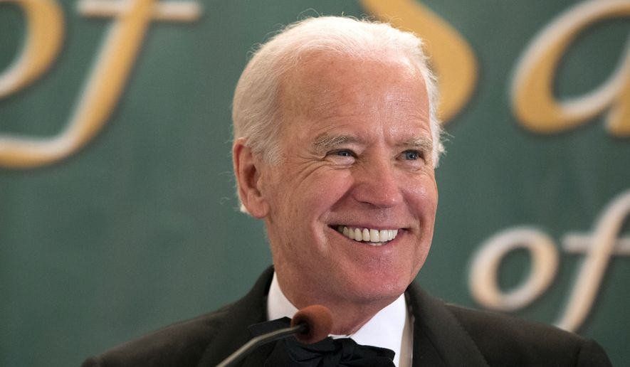 Vice President Joe Biden speaking during the 110th annual dinner of the Friendly Sons of Saint Patrick of Lackawanna County at Genetti Manor in Dickson City, Pa., in this March 17, 2015, file photo. (Christopher Dolan/The Times & Tribune via AP)