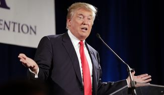 Republican presidential candidate Donald Trump speaks at the National Federation of Republican Assemblies on Saturday, Aug. 29, 2015, in Nashville, Tenn. (AP Photo/Mark Humphrey) ** FILE **