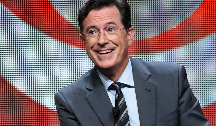 """FILE - In this Aug. 10, 2015 file photo, Stephen Colbert participates in the """"The Late Show with Stephen Colbert"""" segment of the CBS Summer TCA Tour in Beverly Hills, Calif. Colbert's debuts his show on Tuesday. (Photo by Richard Shotwell/Invision/AP, File)"""