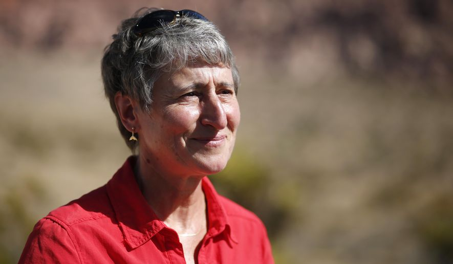 U.S. Secretary of the Interior Sally Jewell speaks at an event at the Red Rock National Conservation area Wednesday, Sept. 2, 2015, near Las Vegas. (AP Photo/John Locher) ** FILE **