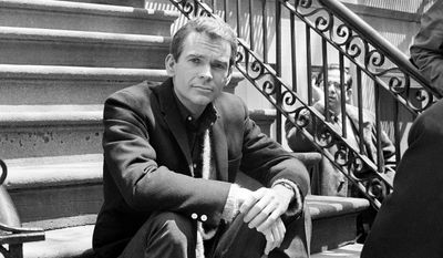 """Actor Dean Jones, poses for a photo while on set for the Warner Bros. film, """"Any Wednesday,"""" in New York, in this May 24, 1966, file photo. Jones, has died of Parkinson's Disease at age 84. He passed away on Tuesday, Sept. 1, 2015, in Los Angeles, publicist Richard Hoffman announced on Wednesday. (AP Photo/Dan Grossi, File)"""
