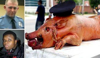 "Darren Wilson, Michael Brown and ""pig."" (Image from truenewsusa.blogspot.com.)"