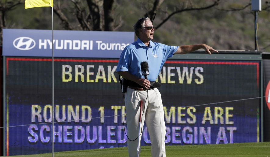 FILE - In this Jan. 6, 2013, file photo, broadcast analyst Mark Rolfing talks about the wind from the 10th green before the first round of a golf tournament in Kapalua, Hawaii. Play was to have started two days earlier, but was delayed because of rain and high winds. Rolfing has been diagnosed with salivary gland cancer and will not be part of the Golf Channel or NBC broadcast team for the rest of the year. (AP Photo/Elaine Thompson, File)