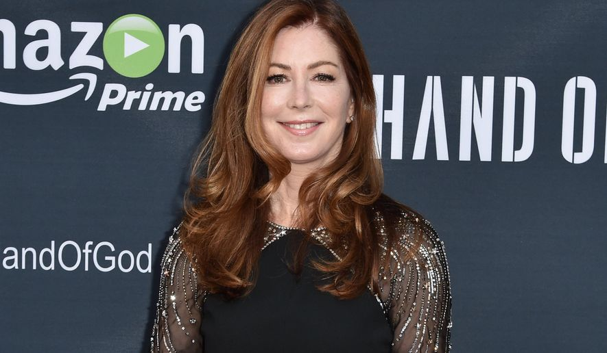 """FILE - In this Aug. 19, 2015 file photo, Dana Delany arrives at the premiere of """"Hand of God"""" in Los Angeles. Delany plays the exasperated wife of a man, played by Ron Perlman, who seems to be having a breakdown while their son lies in a coma. (Photo by Rob Latour/Invision/AP, File)"""
