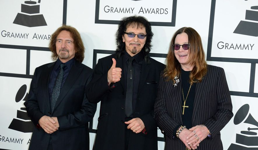 In this Jan. 26, 2014, file photo, Geezer Butler, from left, Tony Iommi and Ozzy Osbourne of Black Sabbath arrive at the 56th annual Grammy Awards in Los Angeles. Black Sabbath will launch a farewell tour next year. The heavy metal band starring Ozzy Osbourne announced dates for its The End tour, which kicks off Jan. 20, 2016, in Omaha, Nebraska. (Photo by Jordan Strauss/Invision/AP, File)