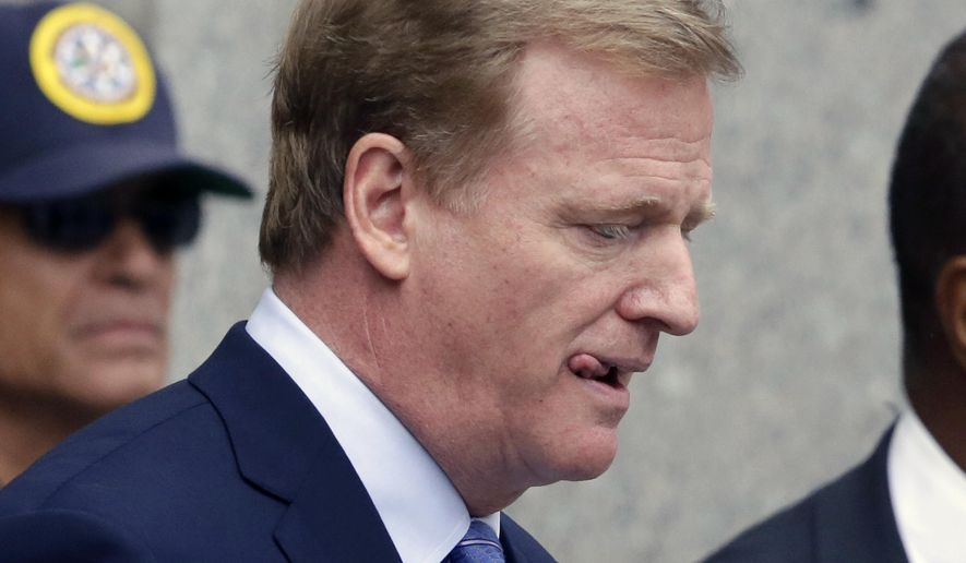 "FILE - In this Aug. 31, 2015, file photo, NFL Commissioner Roger Goodell leaves federal court Monday in New York. New England Patriots quarterback Tom Brady can suit up for his team's season opener after a judge erased his four-game suspension for ""Deflategate.""(AP Photo/Mark Lennihan, File)"