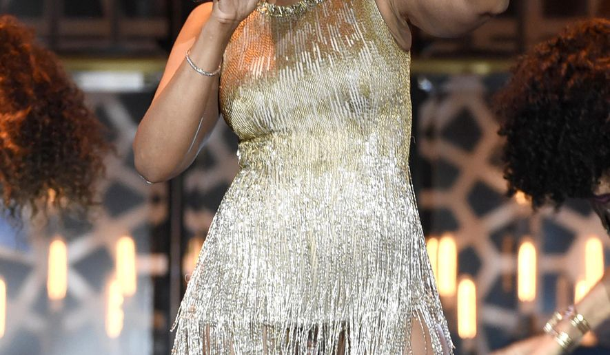 """FILE - In this April 11, 2015 file photo, Jennifer Hudson performs at the TV Land Awards in Beverly Hills, Calif. Hudson and Broadway is a match made in musical heaven and the two finally will be together in the revival of """"The Color Purple."""" (Photo by Chris Pizzello/Invision/AP, File)"""