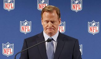 """FILE - In this Sept. 19, 2014, file photo, NFL Commissioner Roger Goodell pauses as he speaks during a news conference in New York. A federal judge deflated """"Deflategate"""" Thursday, Sept. 3, 2015, erasing New England quarterback Tom Brady's four-game suspension for a controversy that the NFL claimed threatened football's integrity. U.S. District Judge Richard M. Berman said NFL Commissioner Roger Goodell went too far in affirming punishment of the Super Bowl winning quarterback. (AP Photo/Jason DeCrow, File)"""