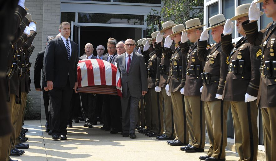 Pallbearers carry the casket of former Gov. Marvin Mandel as they exit the Sol Levinson & Brothers Funeral Home in Pikesville, Md., Thursday, Sept. 3, 2015. Maryland politicians from both parties remembered Mandel on Thursday for his lasting innovations to state government and his quiet but highly effective talent for politics. (Lloyd Fox /The Baltimore Sun via AP)  WASHINGTON EXAMINER OUT; MANDATORY CREDIT